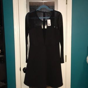 Long Sleeve Mesh Black Dress